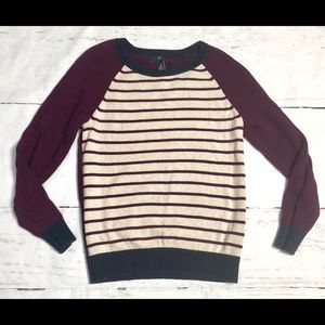 Gap Purple & Navy Striped Sweater Sz XS EUC
